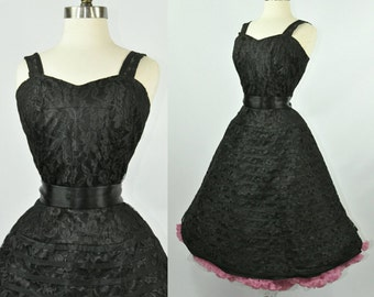 50s Cocktail Dress Black Lace Fit and Flare S/M