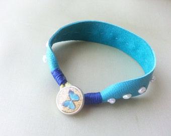 Leather cuff bracelet, Turquoise leather bracelet, Charm bracelet, Friendship bracelet
