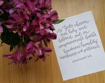 Handlettered Digital Print, Colossians 3:12