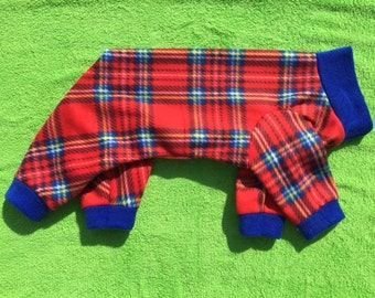 Red Plaid Dog Pajamas Jammies PJs Onesies