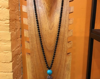 Onyx and Turquoise Knotted Mala AAA gem quality