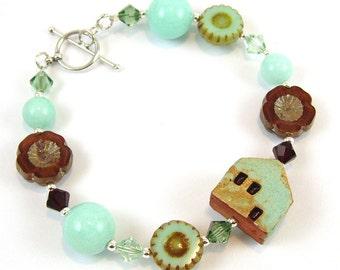 Mint Green Ceramic House Bracelet