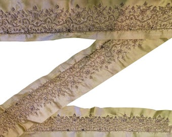 Golden Beige Wide Saree Trims Lace Woven Ribbon Sewing Border Craft Fabric 1 Yard Free Shipping ST1013