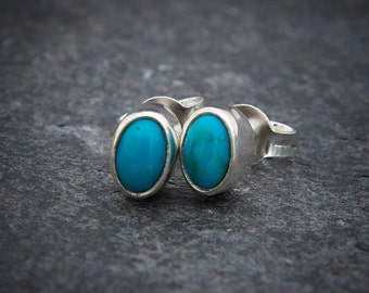 Turquoise Earrings, Silver Stud Earrings, Turquoise Studs, December Birthstone, Silver and Turquoise, Gemstone Earrings, Sterling Silver