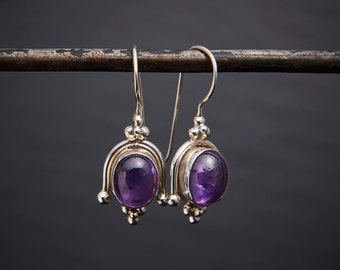 Silver and Amethyst Earrings, Amethyst Drops, February Birthstone, Birthstone Jewellery, Gemstone Earrings, Sterling Silver