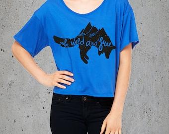 Womens Wild & Free MOUNTAINS FOX T Shirt)Fox TShirt-Fox T-shirt-Graphic Tee-Tumblr Crop Top-Girlfriend Gift-Birthday Gift Gifts,instagram