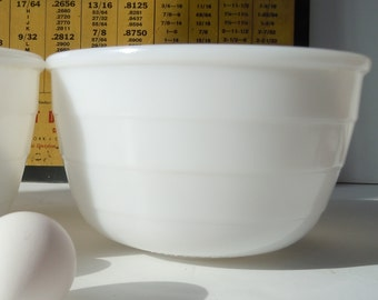 Mixing Bowls / Matching Milk Glass Pair Marked GE / Simple white useful medium sized bowls.
