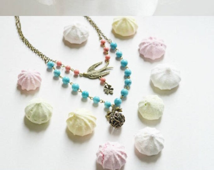 Sweet Day // Necklace in metal with brass beads stone // 2015 Best Trends // Fresh Gifts for Her // Boho Chic //