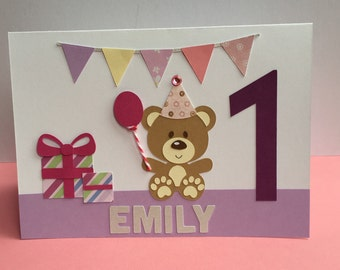 Handmade Personalised First Birthday Card   1st Birthday Card   Baby Girl Little Girl Birthday Girl