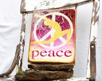 "Ombred Fuchsia to White Golden Yoga ""Peace"" - Sanctuary, Yoga Studio, Breathe, OneLOVE,OneHeart highgloss resin coat on,light hollow cradle."
