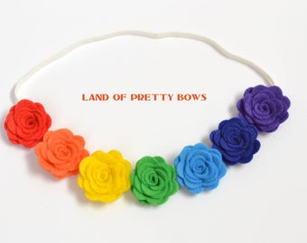 Rainbow Flower Headband Rainbow Crown Headband Tiny Flower Newborn Headband Baby Rainbow Headband Baby Crown Headband Felt Flower Headband