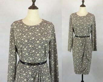 Clearance Sale / Japanese Vintage Floral Dress / Day Dress / Gray Dress / Made in Japan / Size Small Medium