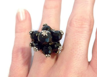 Black Beaded Cluster Ring With Sterling Silver - Beaded Silver Ring, Bead Cluster Ring, Black Ring, Sterling Bead Ring, Beaded Ring