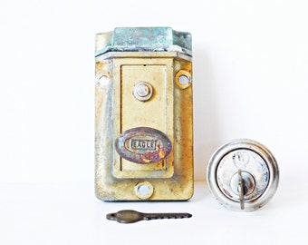 Eagle Deadbolt Door Lock, Surface Mount Lock, Brass Door Lock, Salvaged Door Hardware, Complete Deadbolt, Eagle Lock, Architectural Salvage