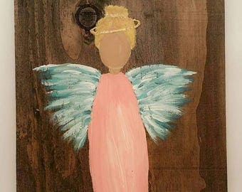 Earth Angel my Guardian Dear, hand painted Angels, Personalised Guardian Angel, Memorial, blue wings pink blond