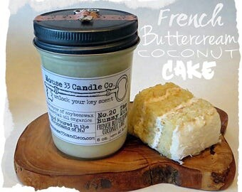 french buttercream coconut cake soy beeswax candle, No. 20 The Bunny Hut / essential oils, all-natural organic vintage style jelly jar, eco