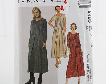 Pullover Dress and OverDress, Uncut Sewing Pattern, McCalls 9483, Size 6-10