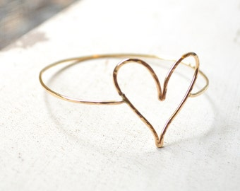 Gold Heart Bangle, Open Heart Bangle Bracelet, Small Gold Heart Bracelet, Hammered Heart