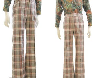 Vintage 70s Pants Plaid Mens Wide Cuffed Flared Brady Bunch Levis Panatela 32