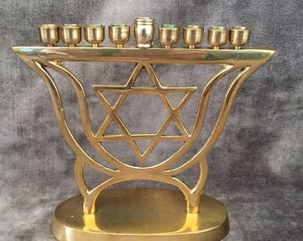 Vintage brass menorah w Star of David Hanukkah decor