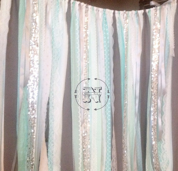 Mint Gray Backdrop Silver Sequin Ribbon Rag By ChangesByNeci