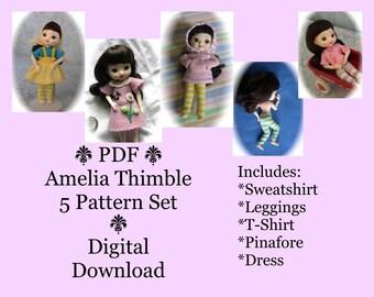 PDF 5 Sewing Pattern Set for mini BJD Amelia Thimble