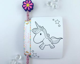 Unicorn colouring card and pencil holder