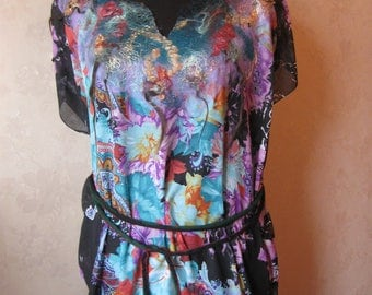 Summer tunic. Viscose, Colorful tunic. Handmade. Wool embroidery.