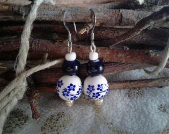 Beautiful Blue Flower Ceramic Earrings