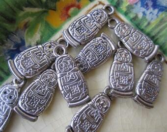10 Pretty Silver Tone Babushka Findings