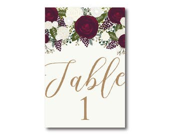 Wedding Table Numbers, Vintage Table Numbers, Printed Table Numbers, Wedding Table Numbers, Table Number Sign, Reception Table Number #CL158