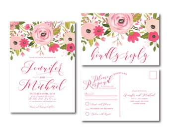 PRINTABLE Wedding Invitation, RSVP Postcard, Suite, Printable Wedding Suite, Wedding Invitation, Rsvp Card, Printable Wedding, Rsvp #CL333