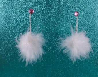 White Faux Feather Pompom Earrings