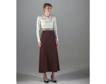 Vintage Cream and Brown Maxi Dress // Cowl Neck Dress // Size 10