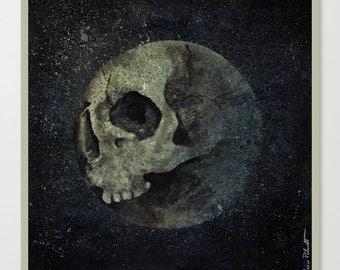 Skull & Moon Art photo print Abstract painting Contemporary art Silk paper Modern wall art Abstractism Surreal art Horror