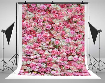 Pink and White Rose Flowers Wallpaper Photography Backdrops No Wrinkles Photo Backgrounds for Wedding Studio Props