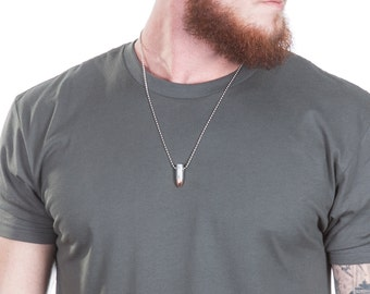 9MM Bullet Necklace on Ball Chain Made From a Real Once Fired Bullet Shell Casing. Available in Brass or Nickel