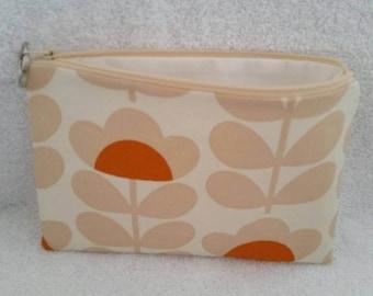 Handmade makeup bag / pencil case  using Orla Kiely Orange Sweet Pea Fabric