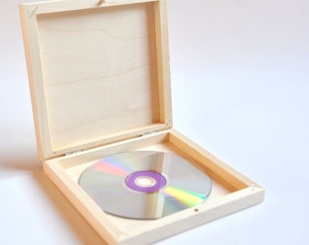 Wood Box for CD. Unfinished Wood Box. Office Organizer