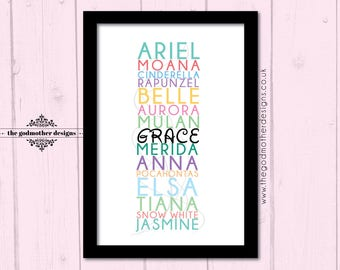 Disney Princess Names customized print - your child's name added to the lineup