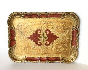 Florentine tray. Vanity tray. Gold tray. Florentine gold. Serving tray. Hollywood regency. Shabby chic tray. Wood tray. Italian tray.