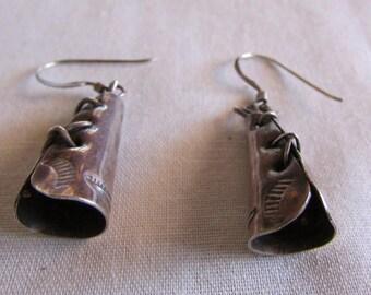 Sterling Silver Tee Pee Dangle Wire Earrings