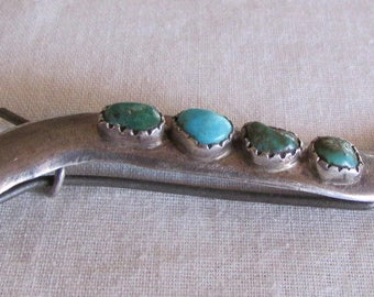 Sterling Silver and Turquoise Southwest Barrette