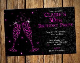 30th Birthday Personalised Party Invitations Pink Flute