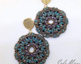 "Earrings ""Secrets"" weaving beads Swarovski crystals Czech and precision"
