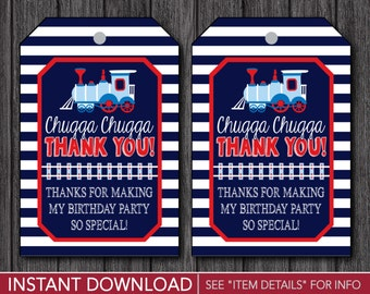 Train Birthday Favor Tags - Train Thank You Party Favor Tags - Printable Digital File - INSTANT DOWNLOAD