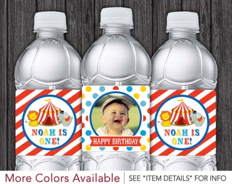 Circus Water Bottle Labels - Printable Circus Birthday Party - DIY Digital File
