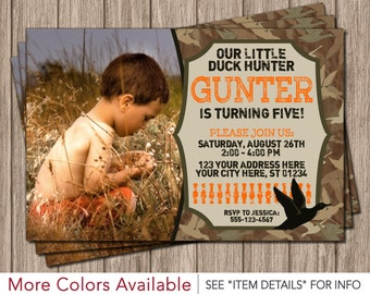Duck Hunting Birthday Invitation - Camo Invitations
