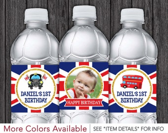 London Water Bottle Labels • Printable London Birthday Party • DIY Digital File