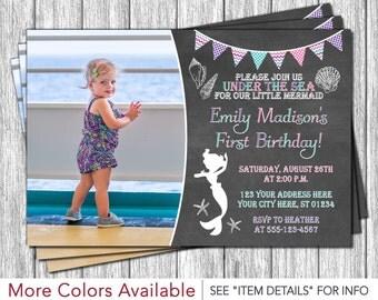 Mermaid Birthday Invitation - Under the Sea Invitations -